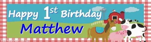 Happy Birthday Barnyard Customized Banner