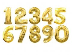 Mini Number Gold Foil Balloon
