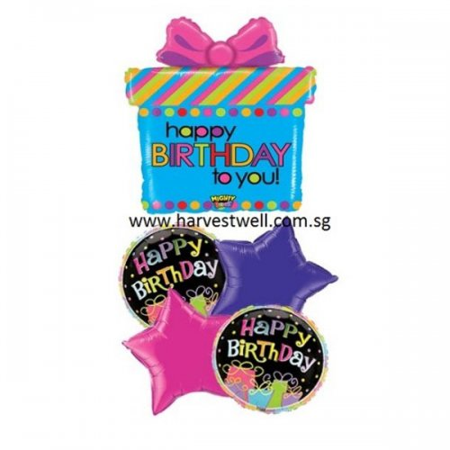 HBD Present Mighty Bright Balloon Package