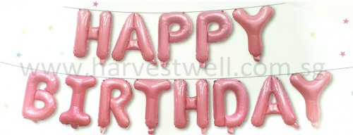 Happy Birthday Pink Mini Letter Balloon Set