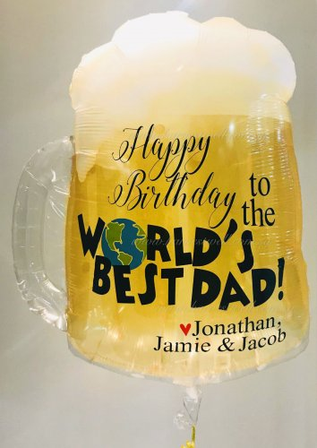 Beer Mug World's Best Dad Customized Balloon Size: 23""