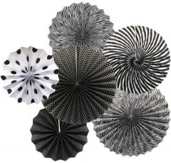 Black and White Themed Paper Fan D.I.Y Set