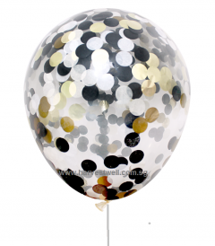 Confetti Helium Latex Balloon (Black, Gold & Silver)