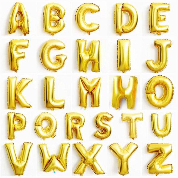 Alphabet Foil Silvers: Megaloon Alphabet Gold Foil Balloon