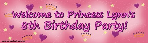 Princess Crowns Birthday Customized Banner