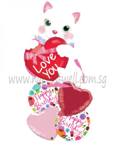 Kitty with Heart JR Shape Balloon Package