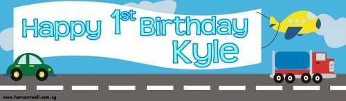 Cute Transports Birthday Customized Banner