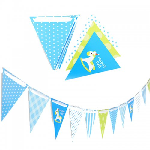Blue Horse Paper Board Bunting Flag Banner
