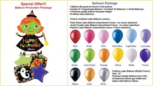 Happy Halloween Witch Balloon Package
