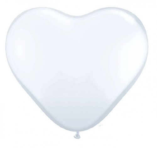 WHITE HEART SHAPED Helium Latex Balloon