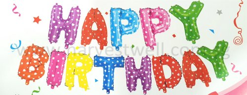 Happy Birthday Colorful Stars & Hearts Mini Letter Balloon Set