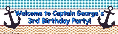 Captain Birthday Customized Banner