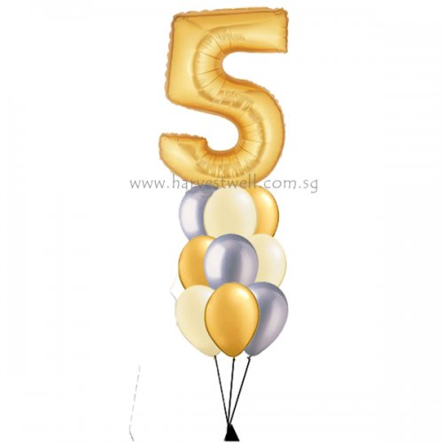 Gold Megaloon Number Helium Balloon Column
