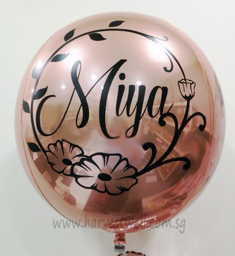 Customize Floral Name ORBZ Balloon