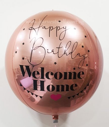 Happy Birthday Welcome Home Customize ORBZ Balloon