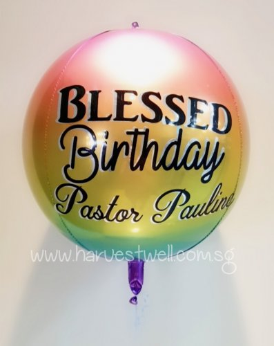 Customised Birthday Ombre Rainbow Orbz Balloon