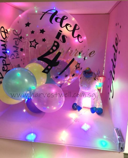 Customize Surprise Balloon Gift Box with Pastel Bubble Balloon