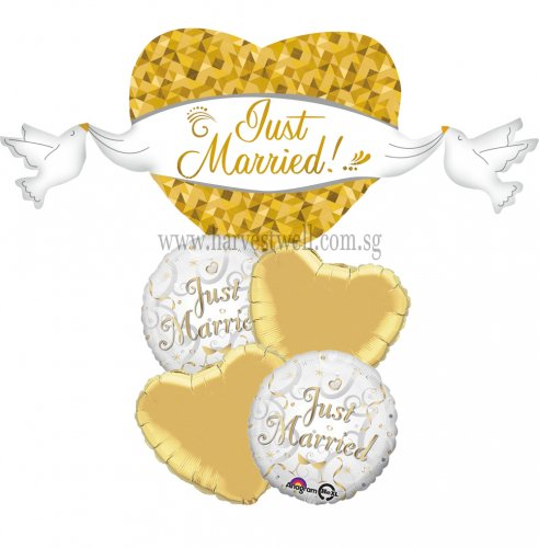 Just Married Heart & Doves Balloon Package