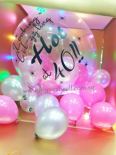 Customize Surprise Balloon Gift Box with Hot 40 Bubble Balloon