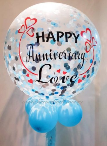 Personalized Jumbo Happy Anniversary Hearts Helium Latex Balloon