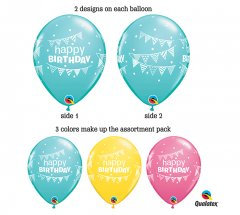 HBD Pennats & Dots Helium Latex Balloon
