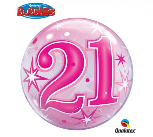 21 Birthday Sparkle Bubble Balloon