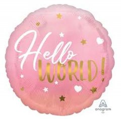 Hello World (Baby Girl) Foil Mylar Balloon