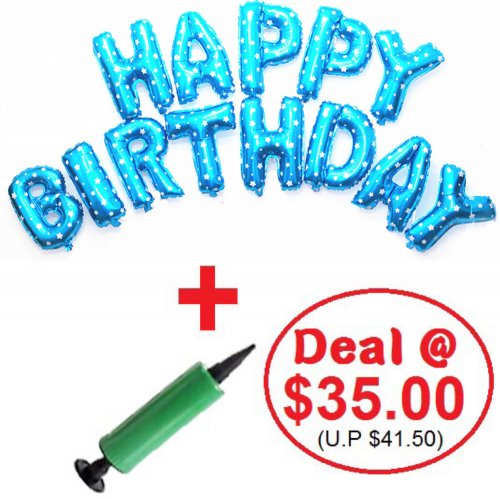 Mini Alphabet (BLUE) Foil With Balloon Pump DIY Value Pack