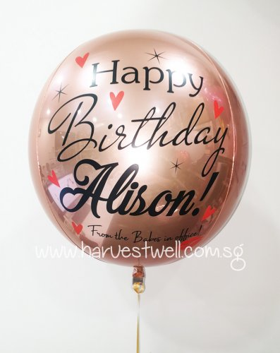 Customize Birthday Hearts and Kiss ORBZ Balloon