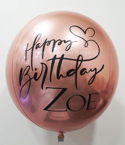 Birthday Calligraphy Heart Customize ORBZ Balloon