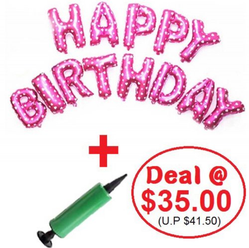 Mini Alphabet (PINK) Foil With Balloon Pump DIY Value Pack