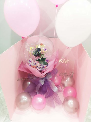 Customize Bubble Rose Hand Bouquet in Balloon Box
