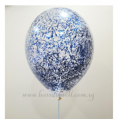 Blue Glitter Helium Latex Balloon