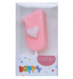 #1 Pink with White Heart Candle