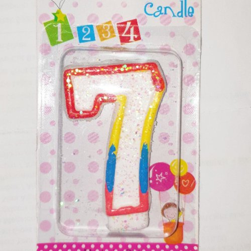 Number 7 Primary Colour Numeral Candle