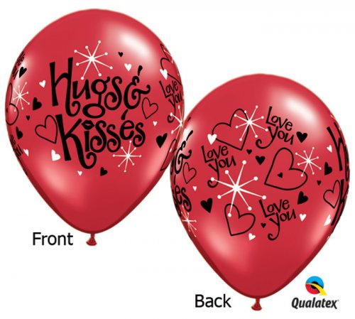 Hugs & Kisses Helium Latex Balloons
