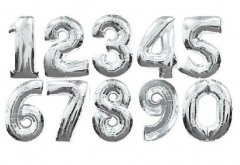 Mini Number Silver Foil Balloon