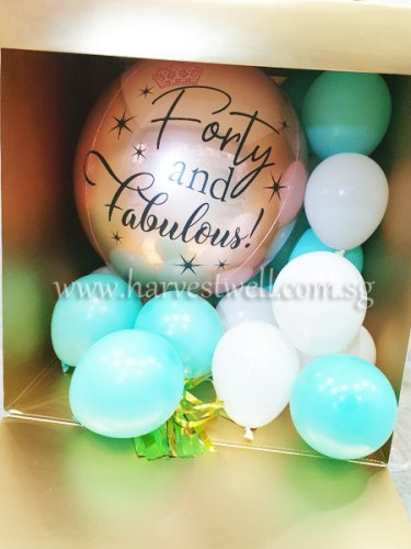 Customize Surprise Box with Forty & Fab ORBZ Balloon