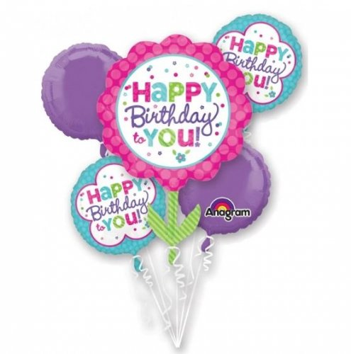 Pink & Teal Happy Birthday Balloon Bouquet