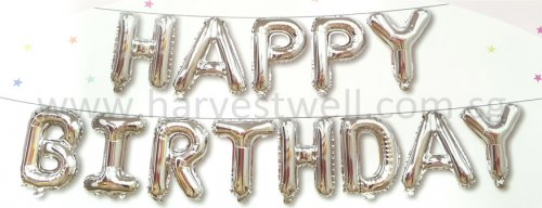 HBD Silver Mini Alphabet Balloon Set