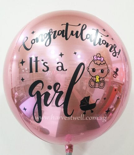 It's A Girl Customize ORBZ Balloon