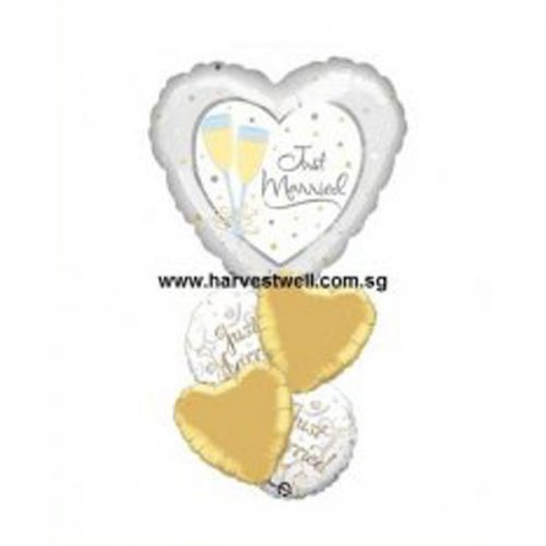 Just Married Silver(Love) Gold Balloon Package