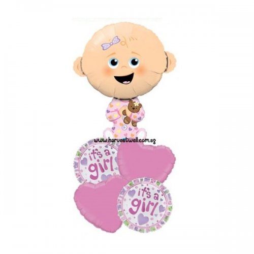 Baby Girl It's A Girl Balloon Package