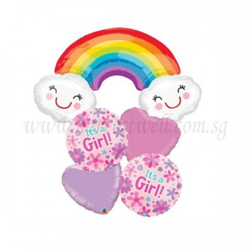 Rainbow It's A Girl Balloon Package