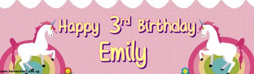 Unicorn Birthday Customized Banner