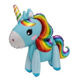 Mini Walker Rainbow Blue Unicorn (Air-filled) Balloon