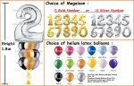 Silver Megaloon Number Helium Balloon Column