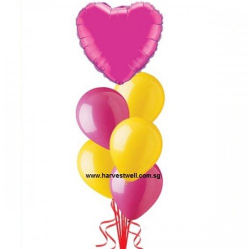 Helium Latex Balloon Bouquet with Foil Balloon on Top