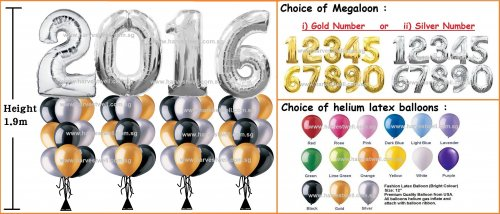 Silver Megaloon Number (Year) Helium Balloon Column