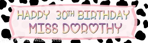 Cow Print Birthday Customized Banner